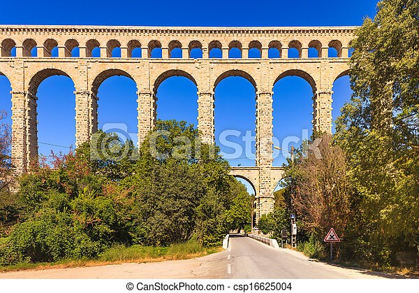 Roquefavour historic old aqueduct landmark in Provence, France. - csp16625004