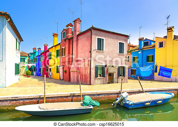 Venice landmark, Burano island canal, colorful houses and boats, Italy. Long exposure photography - csp16625015