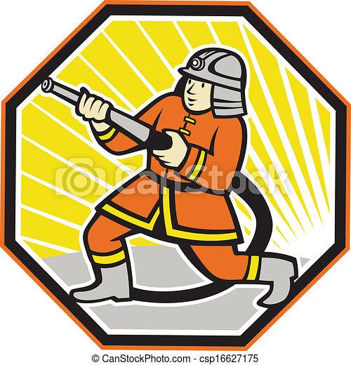 Vecteur japonaise pompier pompier dessin animé banque d
