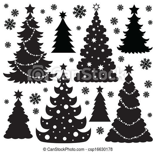 Christmas tree silhouette theme 1 - csp16630178