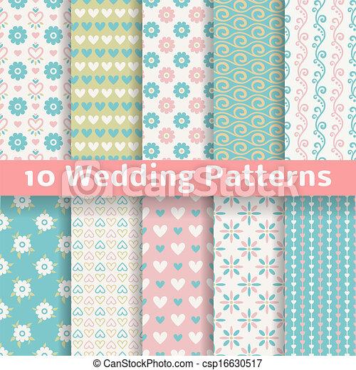 Pastel loving wedding vector seamless patterns (tiling). - csp16630517