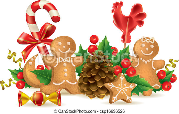 Vector Illustration Of Christmas Candy And Decorations