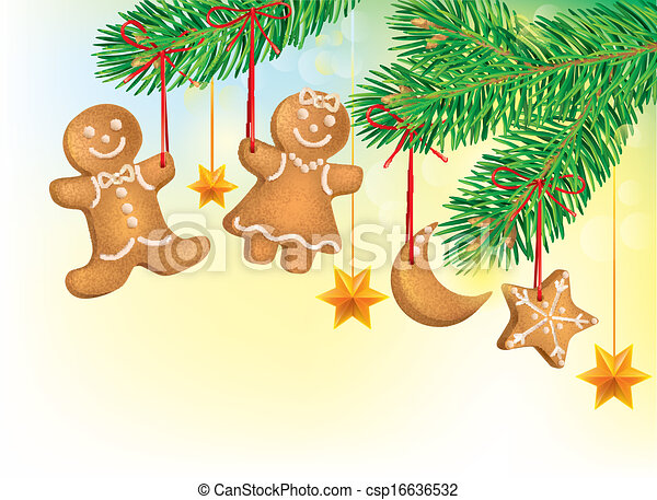 Christmas tree decorated with Christmas cookies - csp16636532
