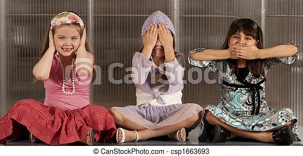 Three kids ignoring evil - csp1663693