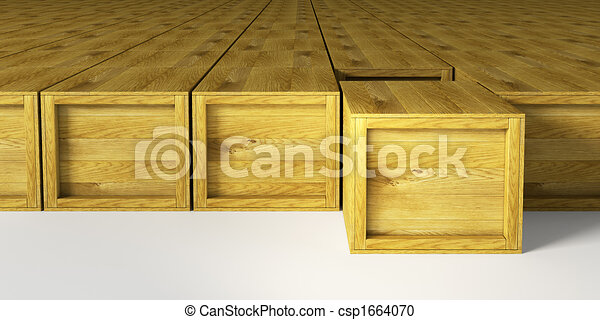 warehouse with multitude wooden crates - csp1664070