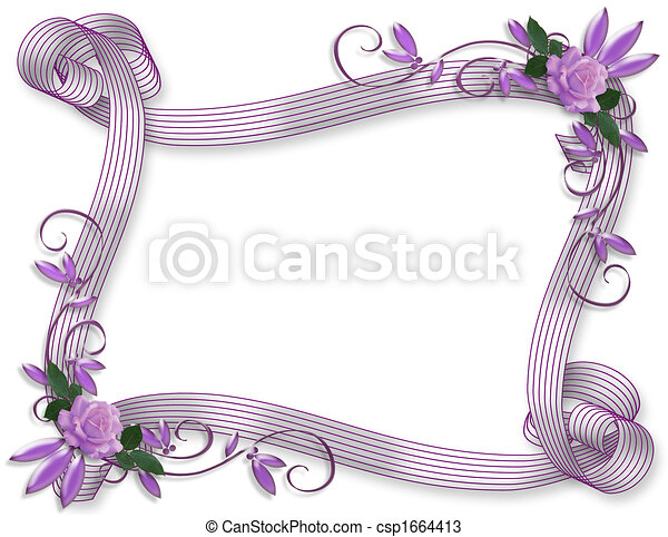 Stock Illustration Wedding invitation border Lavender roses