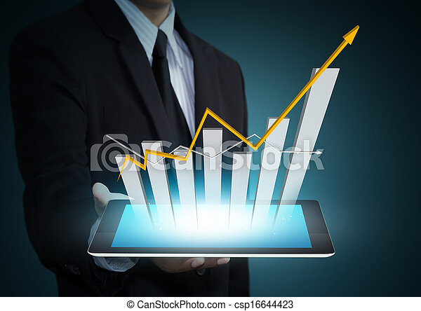 Growth chart on tablet technology - csp16644423