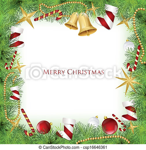 Clip Art Vector of Christmas Frame With Holly Decoration. Vector ...
