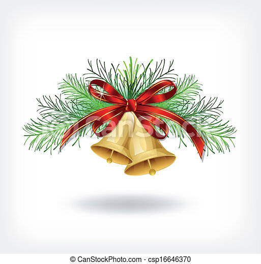 Christmas bells with tree decorations - csp16646370