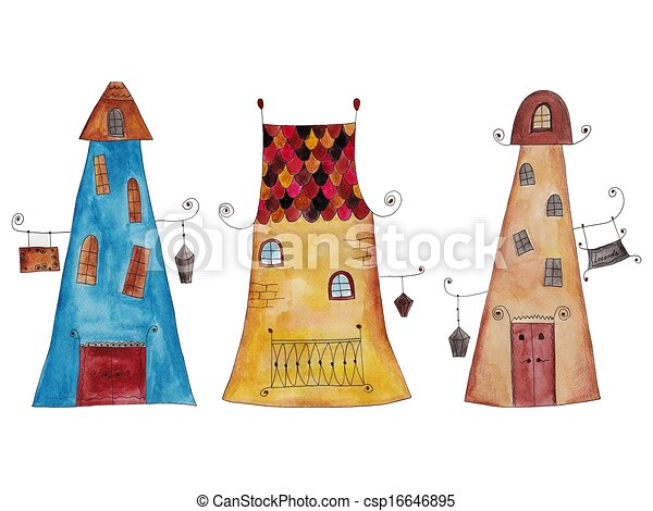 historic cartoon buildings - csp16646895