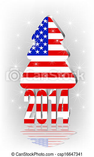 Christmas tree with the American flag - csp16647341