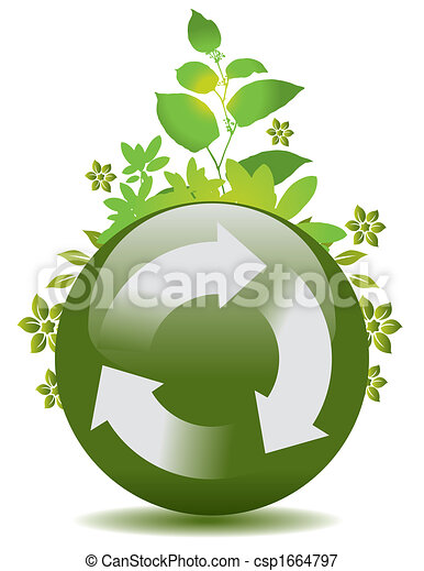 green globe with a recycle symbol - csp1664797
