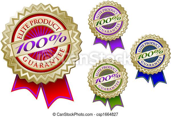 Set of Four 100% Elite Product Guarantee Emblem Seals - csp1664827