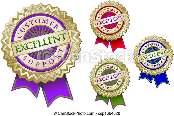 Set of Four Colorful Excellent Customer Support Emblem Seals With Ribbons. - csp1664828
