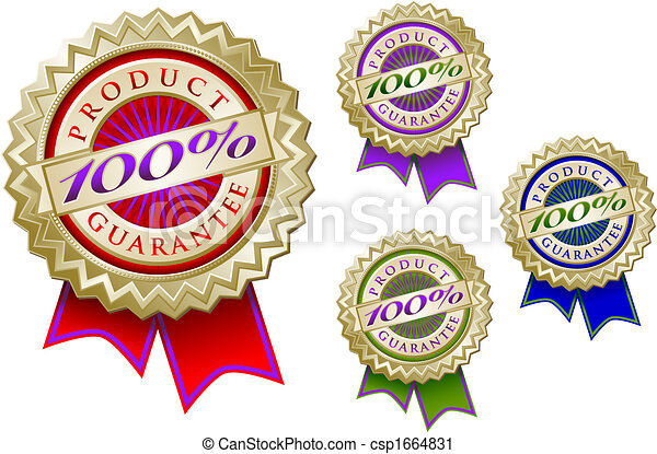 Set of Four Colorful 100% Product Guarantee Emblem Seals With Ribbons. - csp1664831