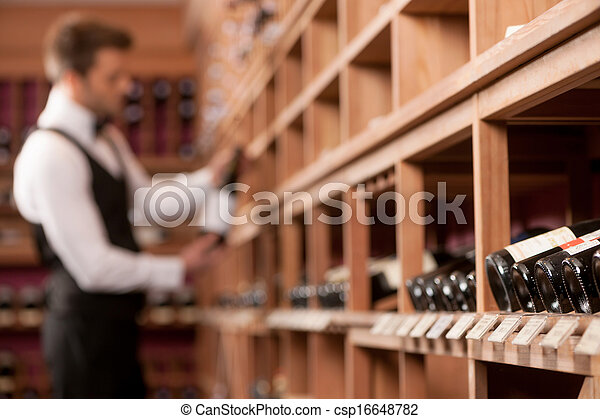 Confident sommelier. Thoughtful young sommelier holding a wine bottle and examining it - csp16648782
