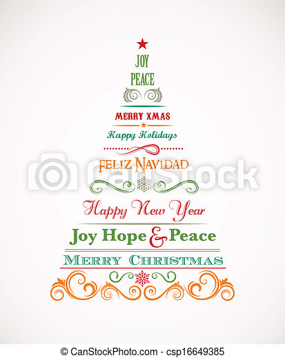 Vintage Christmas tree with text and elements - csp16649385
