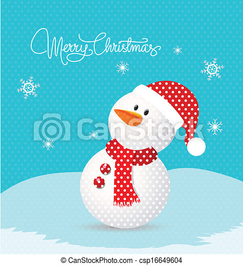 Merry christmas with snowman retro - csp16649604