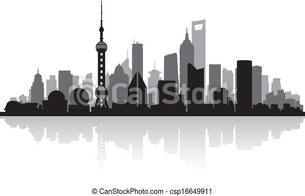 Shanghai China city skyline silhouette - csp16649911