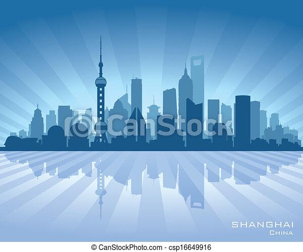 Vector Clip Art of Shanghai China city skyline vector silhouette ...