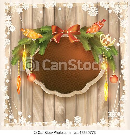 Christmas frame board, garland, ornaments, birds - csp16650778
