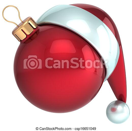 Christmas ball Santa Claus hat Xmas - csp16651049