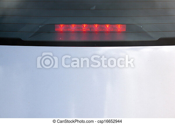 View Of Red LED Stop Light On Back Of Automobile - csp16652944