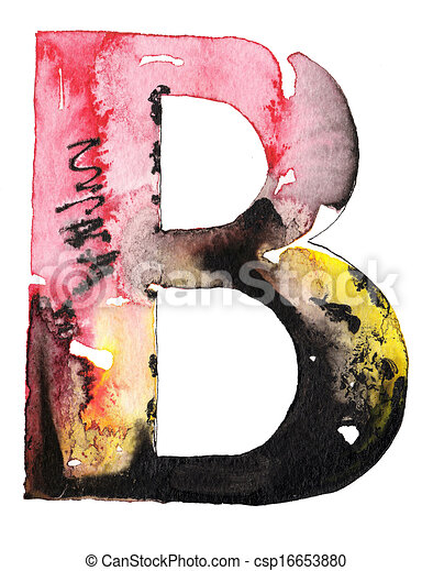 handmade watercolor alphabet design - csp16653880
