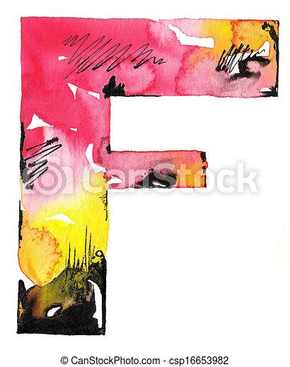 handmade watercolor alphabet design - csp16653982
