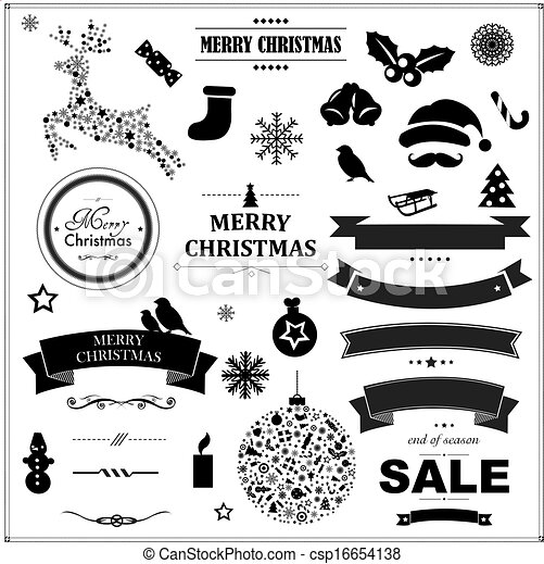 Set Of Vintage Black Christmas Symbols And Ribbons - csp16654138