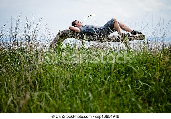 pacificamente, adulto, jovem, relaxante, natureza - csp16654948