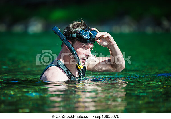 Young Adult Snorkeling in a river - csp16655076