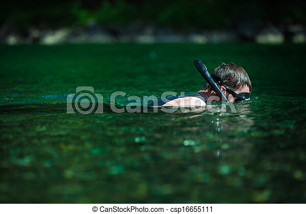 Young Adult Snorkeling in a river - csp16655111