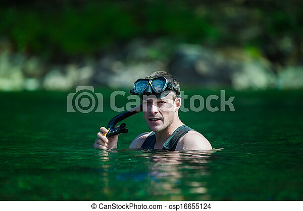Young Adult Snorkeling in a river - csp16655124