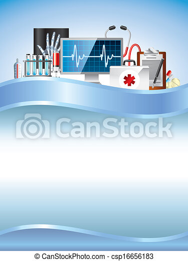 Medical equipment on blue vector background - csp16656183