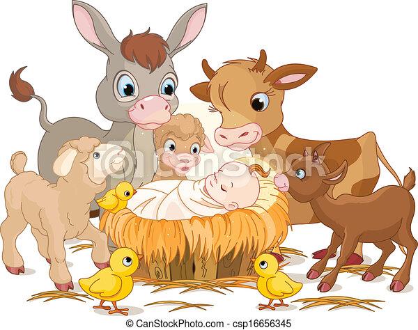 Holy child with animals - csp16656345