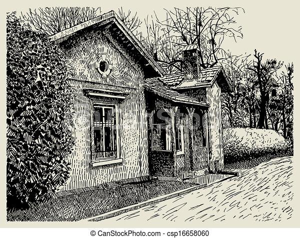 Clip art vecteur de main sketchy artistique village - Village dessin ...