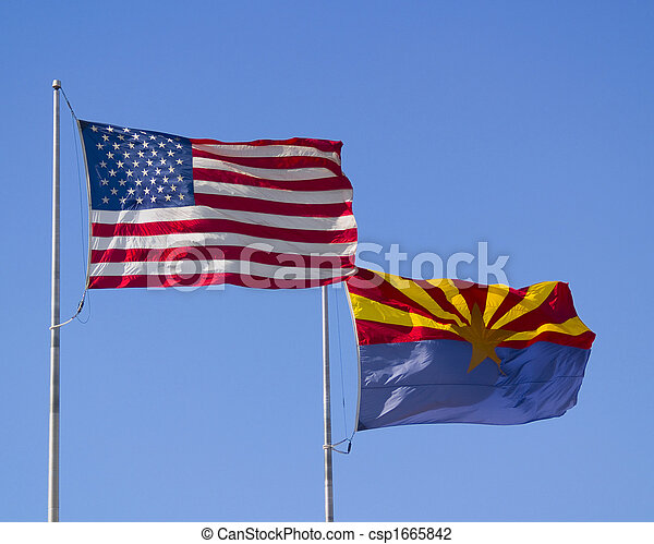 U.S. and Arizona Flags - csp1665842
