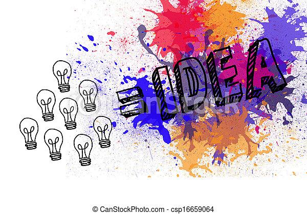 Light bulbs on paint splashes