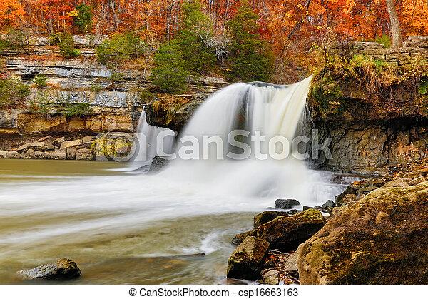 Beautiful Autumn Waterfall - csp16663163