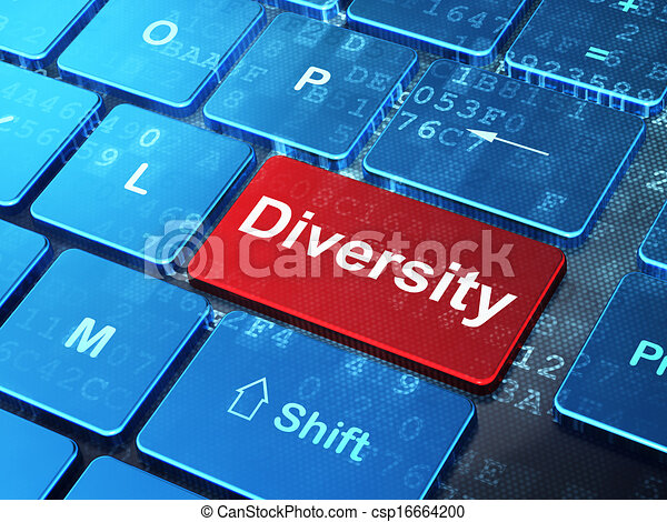 Business concept: Diversity on computer keyboard background - csp16664200