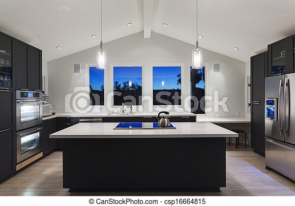 stock fotografie von modern haus luxus kueche luxus kueche in a modern csp16664815. Black Bedroom Furniture Sets. Home Design Ideas