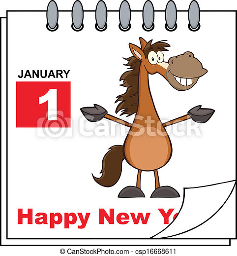 Vector Clip Art of Happy New Year Calendar With Horse ...