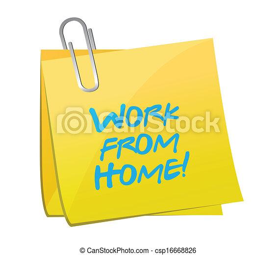 vector illustration of work from home post message illustration design over white csp16668826. Black Bedroom Furniture Sets. Home Design Ideas