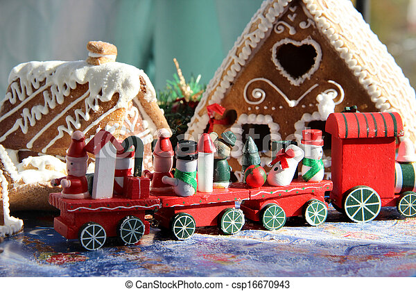 Christmas for children with toy red train - csp16670943