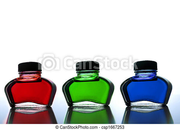 Red green and blue ink - csp1667253