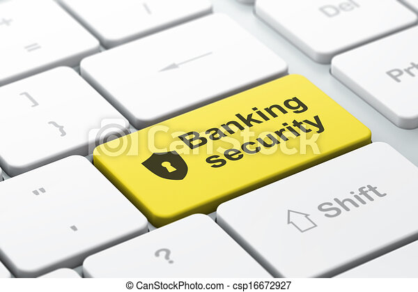 Security concept: Shield Keyhole and Banking Security keyboard - csp16672927