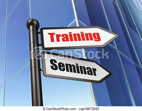 Drawing of Education concept: sign Training Seminar on ...
