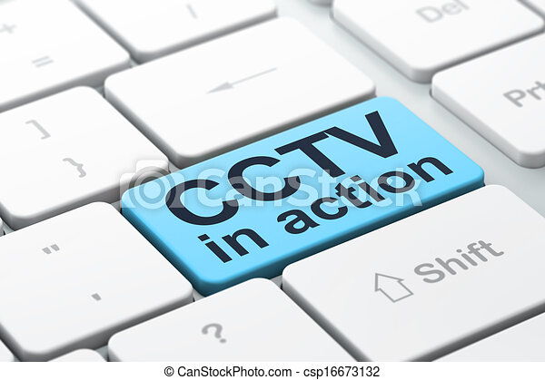 Privacy concept: CCTV In action on computer keyboard background - csp16673132