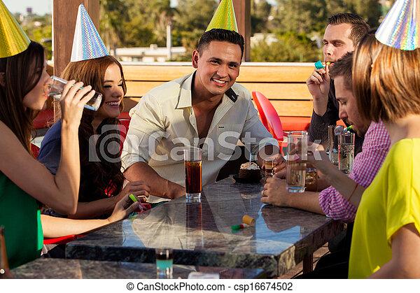 Birthday celebration with friends - csp16674502